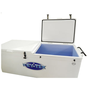 Icey-Tek White 270 Quart Ice Chest Cooler with Split Lid - Long Box Style