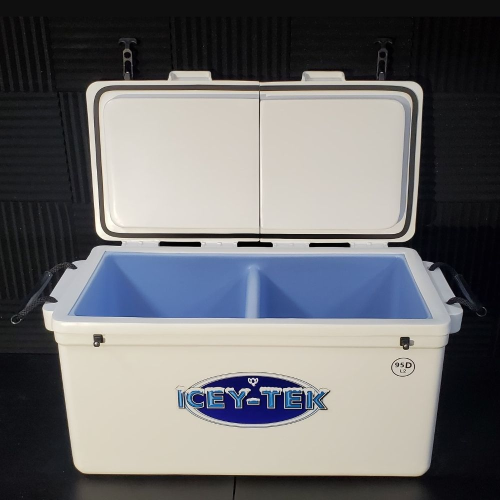"ICEY-TEK Split-Lid 95 QT Cooler With Permanent 50/50 Divider - ""TWO COOLERS IN ONE"""