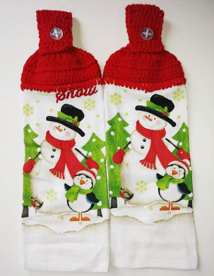 Winter Snowman Penguin Holiday Hanging Kitchen Towel Set