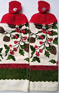 Christmas Pinecones Holly & Berries Hanging Kitchen Towel Set
