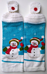 Christmas Snowman & Cardinal Hanging Kitchen Towel Set