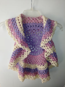 Girls Ring Around The Rosie Vest Size 5T Cream Pink Lavender Circle Vest