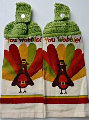 You Wobble Thanksgiving Turkey Hanging Kitchen Towel Set