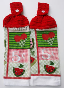 Primitive Watermelon Heart Hanging Kitchen Towel Set