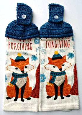 Happy Foxgiving Fox Hanging Kitchen Towel Set