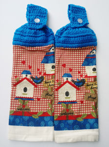 Americana Primitive Birdhouses Hanging Kitchen Towel Set