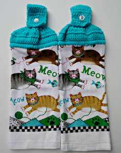Meow Kitty Cats Mouse & Fish Hanging Kitchen Towel Set