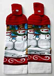 Christmas Country Snowman Couple Hanging Kitchen Towel Set