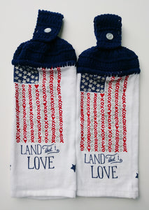 Independence Day 4th of July Flag Patriotic Land That I Love Hanging Kitchen Towel Set