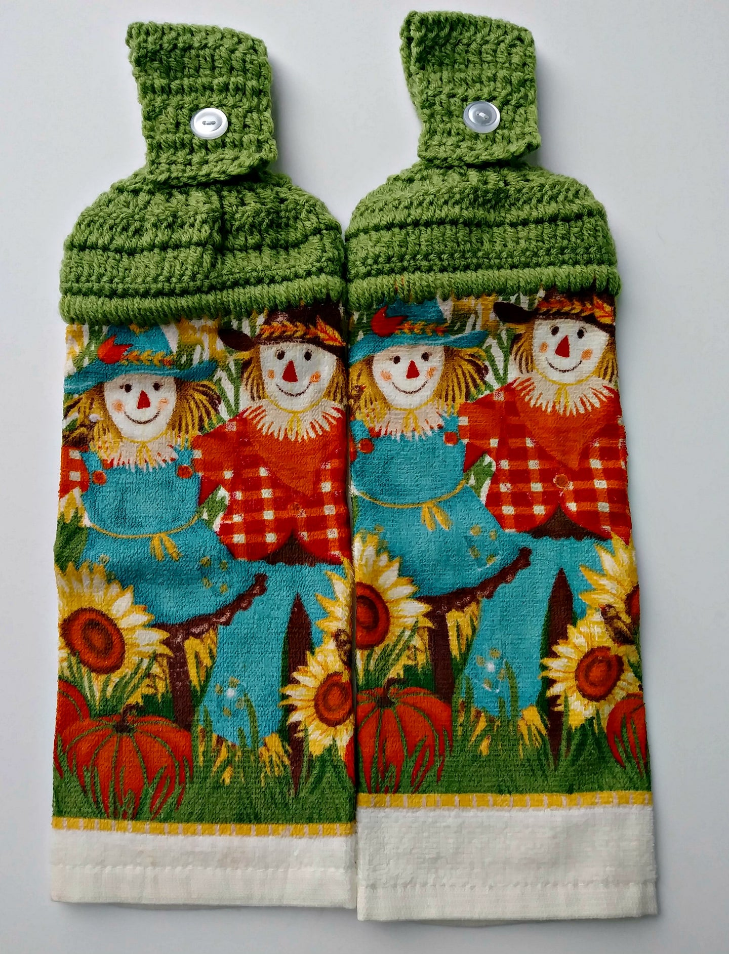 Autumn Scarecrow Couple Sunflowers Pumpkins Hanging Kitchen Towel Set