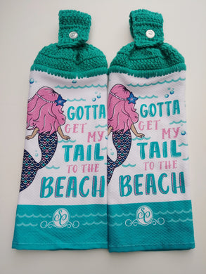 Gotta Get My Tail To The Beach Mermaids Hanging Kitchen Towel Set