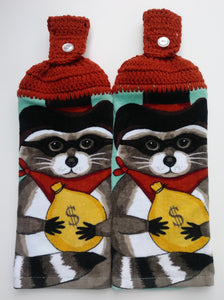 Raccoon Bank Bandit Hanging Kitchen Towel Set