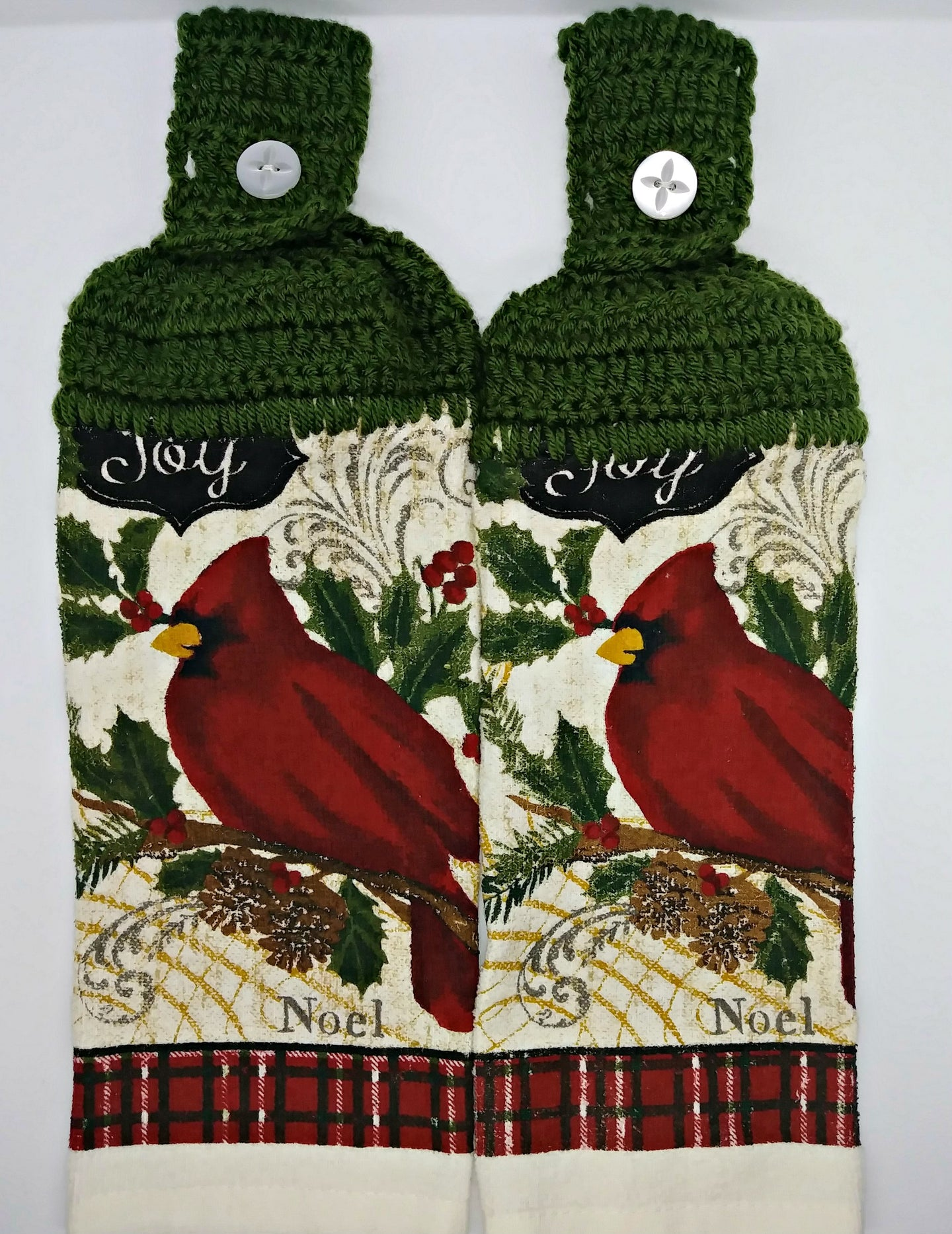 Joy Noel Christmas Cardinal Hanging Kitchen Towel Set