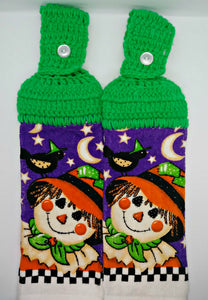 Fall Halloween Scarecrow Hanging Kitchen Towel Set