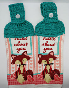 Wild About You Fox Valentine's Day Hanging Kitchen Towel Set