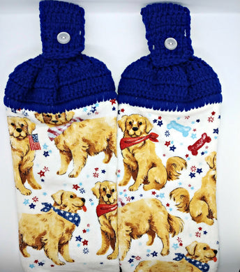 Patriotic Puppy Dogs Hanging Kitchen Towel Set