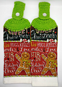 Sweet Christmas Gingerbread Man Hanging Kitchen Towel Set