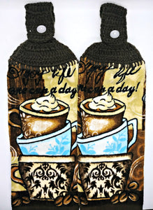 Hot Chocolate Coffee Cup Enjoy Life Hanging Kitchen Towel Set
