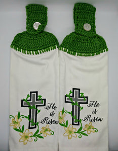 He Is Risen Cross & Lilies Religious Hanging Kitchen Towel Set