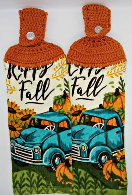 Autumn Fall Blue Pickup Truck Sunflowers Pumpkin Hanging Kitchen Towel Set