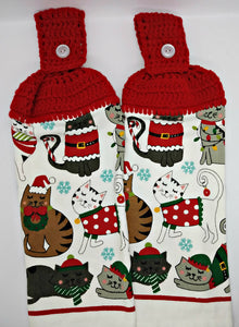 Christmas Kitty Cats Hanging Kitchen Towel Set