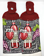 Load image into Gallery viewer, Deluxe Wine & Grapes Hanging Kitchen Towel Set
