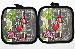 Deluxe Wine & Grapes Hanging Kitchen Towel Set