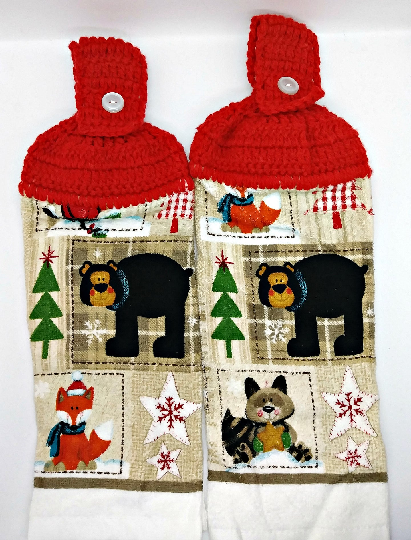 Bear Fox Racoon Cardinal Winter Hanging Kitchen Towel Set