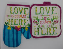 Load image into Gallery viewer, Love Is Spoken Here Floral Deluxe Hanging Kitchen Towel Set & Potholders