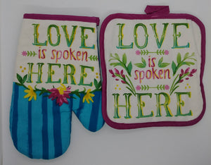 Love Is Spoken Here Floral Deluxe Hanging Kitchen Towel Set & Potholders
