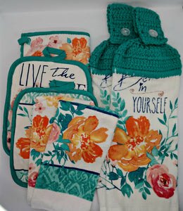 Floral Believe In Yourself Deluxe Hanging Kitchen Towel Set & Potholders