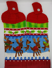 Load image into Gallery viewer, Christmas Reindeer Deluxe Hanging Kitchen Towel Set & Potholders
