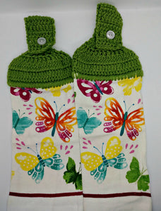 Spring Butterflies Deluxe Hanging Kitchen Towel Set & Potholders