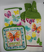 Load image into Gallery viewer, Spring Butterflies Deluxe Hanging Kitchen Towel Set & Potholders