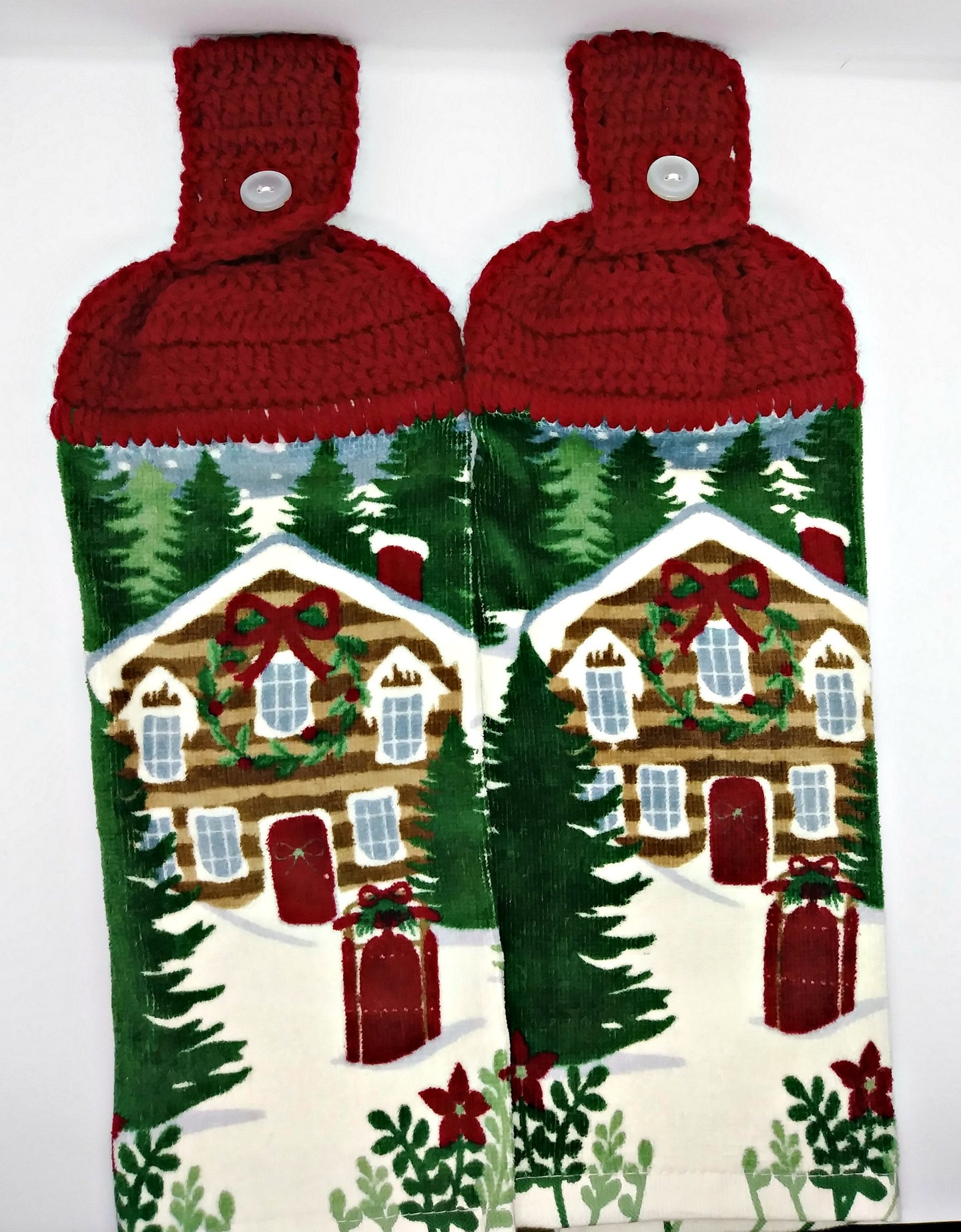 Cozy Christmas Cabin Hanging Kitchen Towel Set