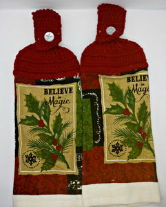 Holly & Berries Believe In Magic Winter Hanging Kitchen Towel Set