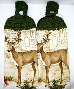 Winter Christmas Reindeer Hanging Kitchen Towel Set