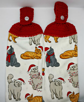 Kitty Cats in Santa Hats Hanging Kitchen Towel Set