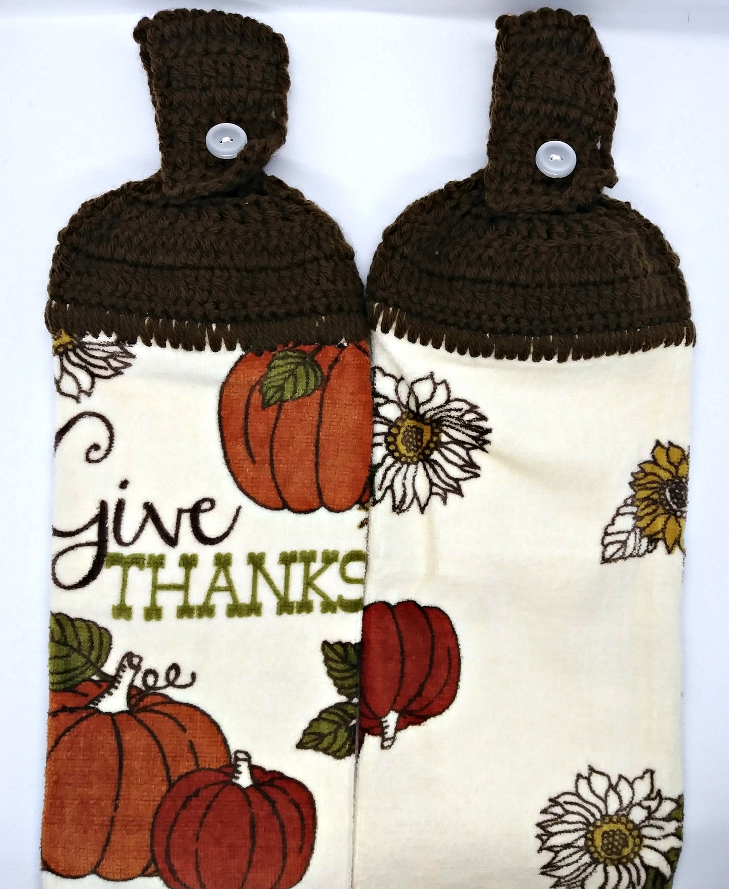 Autumn Fall Give Thanks Pumpkin Thanksgiving Hanging Kitchen Towel Set