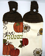 Load image into Gallery viewer, Autumn Fall Give Thanks Pumpkin Thanksgiving Hanging Kitchen Towel Set