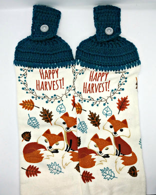 Happy Harvest Foxes Autumn Thanksgiving Hanging Kitchen Towel Set