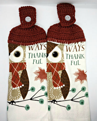 Owl Ways Thankful Fall Autumn Hanging Kitchen Towel Set