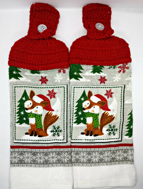 Winter Santa Fox Hanging Kitchen Towel Set