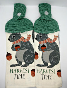 Fall Autumn Harvest Time Squirrel Hanging Kitchen Towel Set
