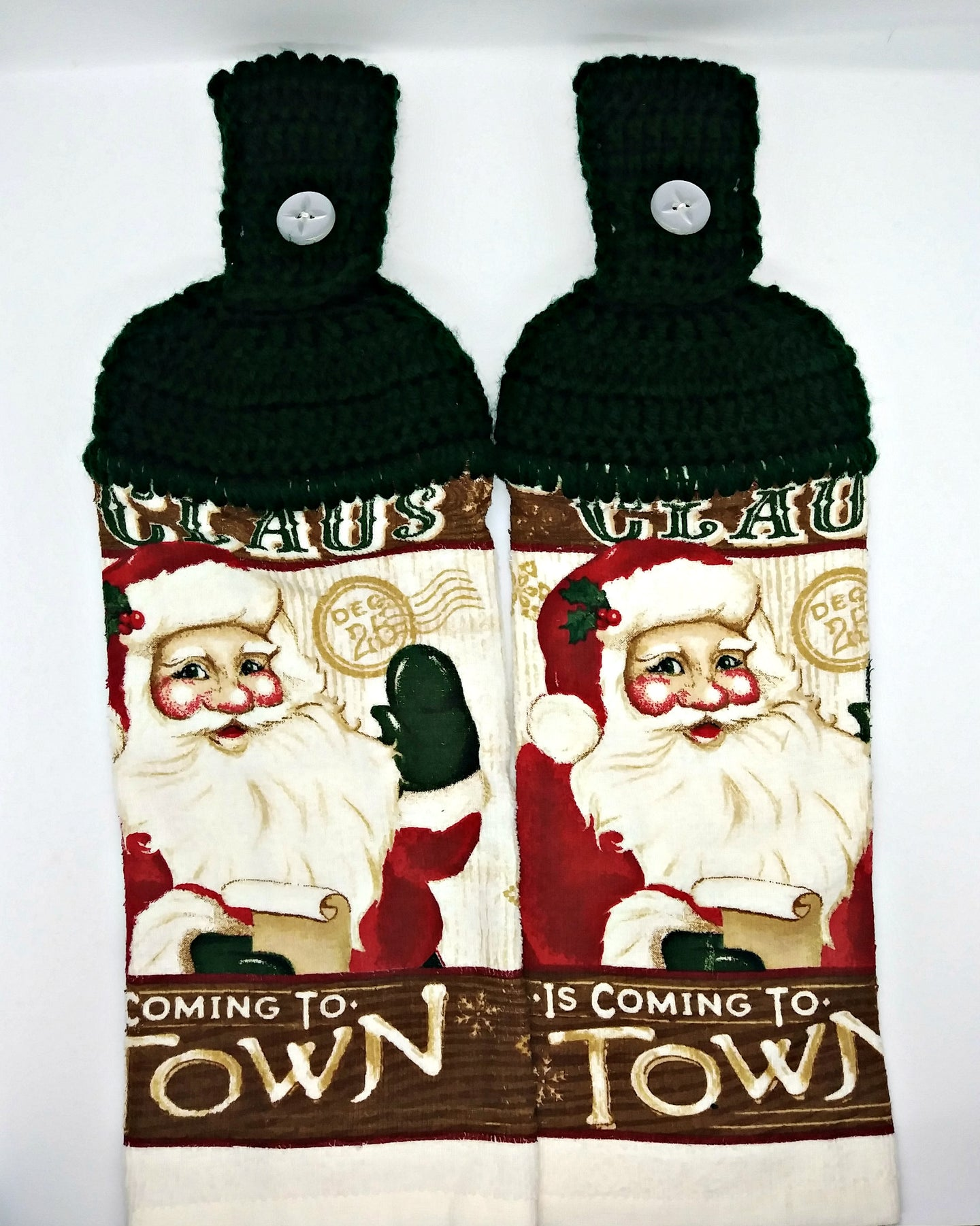 Santa Claus Is Coming To Town Hanging Kitchen Towel Set