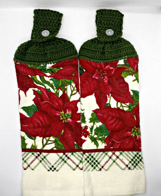 Christmas Poinsettias Hanging Kitchen Towel Set