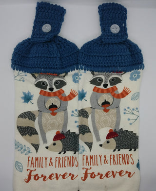 Raccoon Hedgehog Family & Friends Forever Hanging Kitchen Towel Set