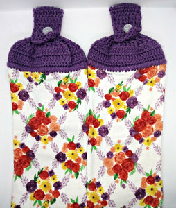 Floral Flowers Purple Coral Yellow Hanging Kitchen Towel Set