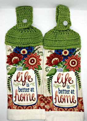 Life Is Better At Home Flowers Hanging Kitchen Towel Set
