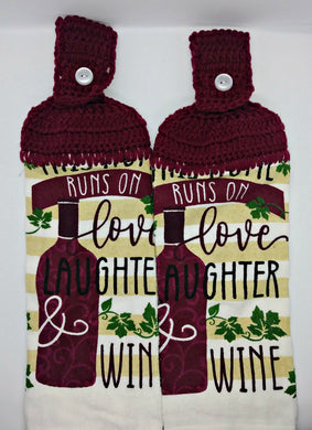 Runs On Love, Laughter & Wine Hanging Kitchen Towel Set